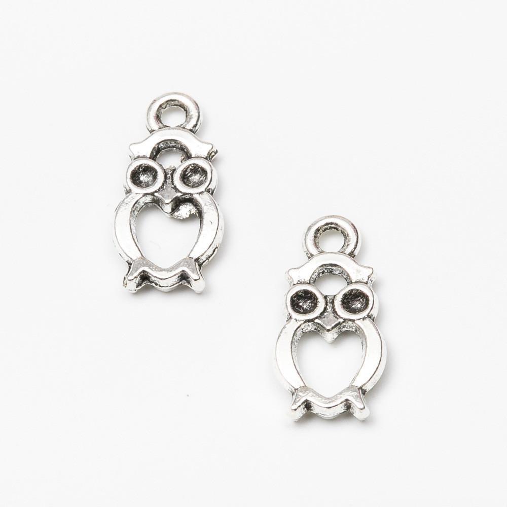 Owl Charm//Pendant Tibetan Antique Silver 21mm  10 Charms Accessory DIY Jewellery