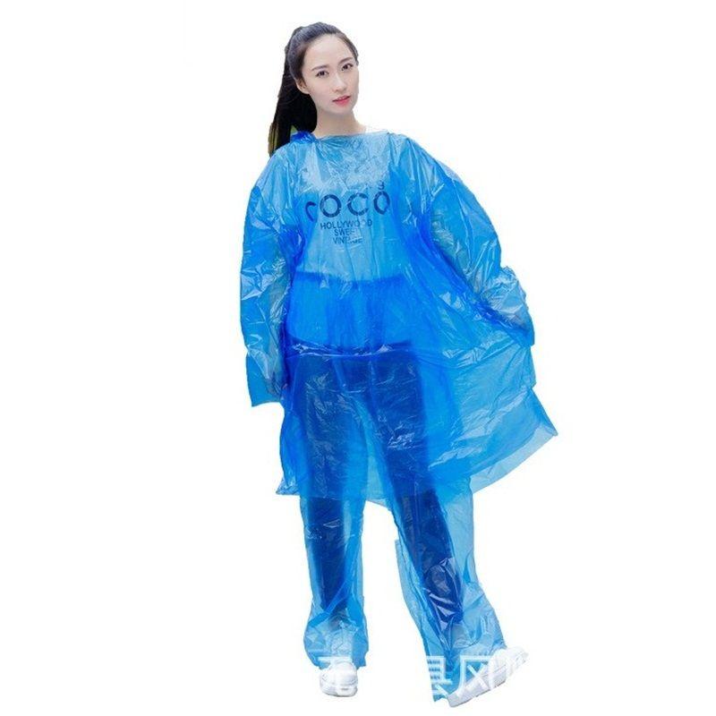 Wholesale Hood Disposable Raincoats Pure Color Travel Camping Hiking Poncho Rainwear Pe Rain Coat Water Proof 1 8fs E19