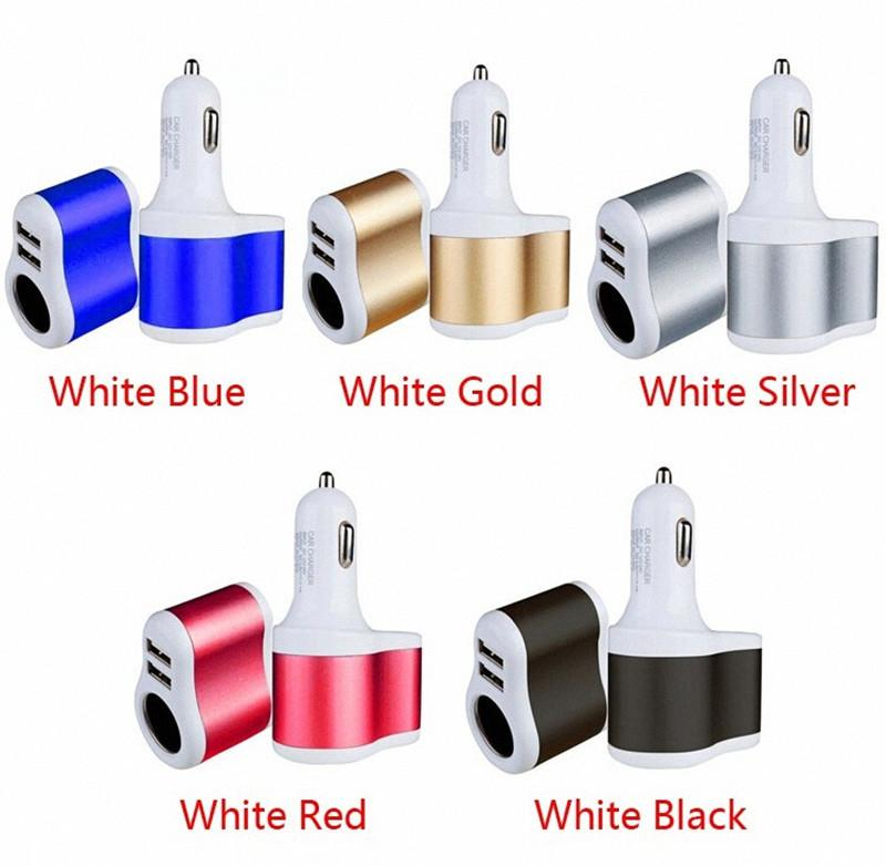 car charger Dual USB 3.1A Car Charger + Cigarette Lighter Auto Power Adapter Lighter Power Socket Charger Adapter for samsung gps
