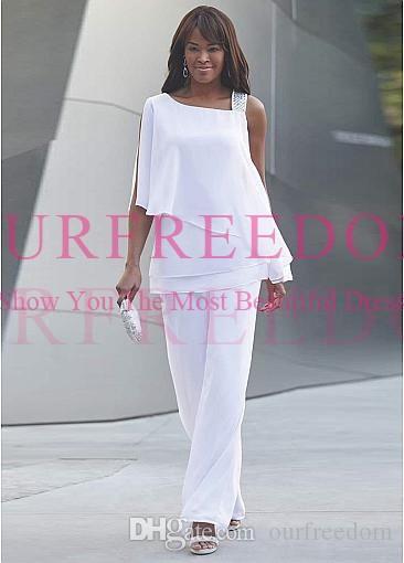2020 Nouveau Modeste Blanc une épaule mère de la mariée en mousseline de soie costumes étage Longueur costumes pantalons Occasion Soirée formelle de bal robes de soirée