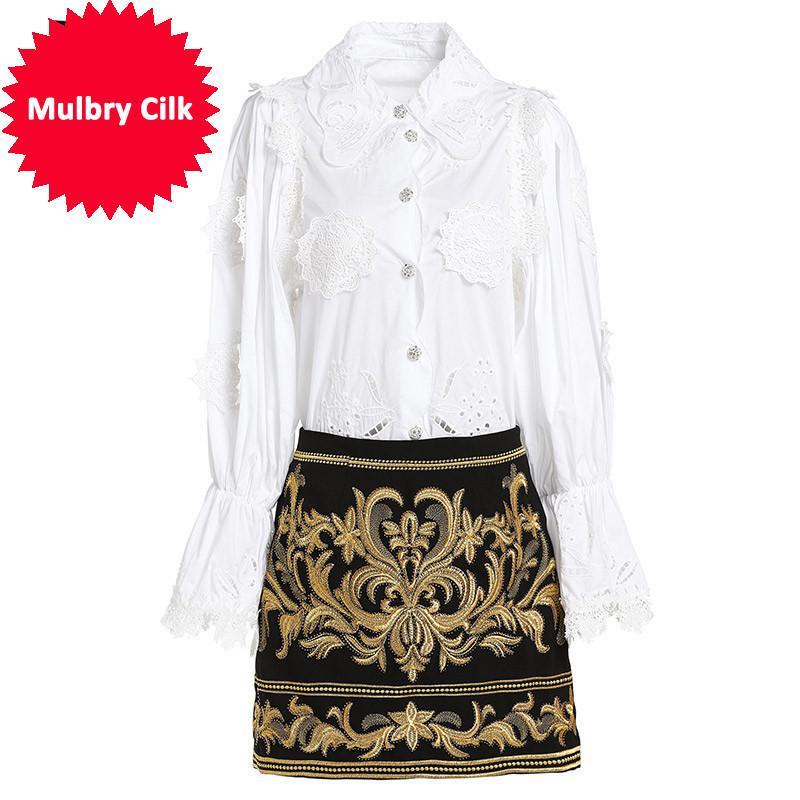 Moda Pist Kısa Etek İki Adet Set Kadınlar Zarif Beyaz Bluzlar + Çiçek Işlemeli Mini Etekler Setleri Takım