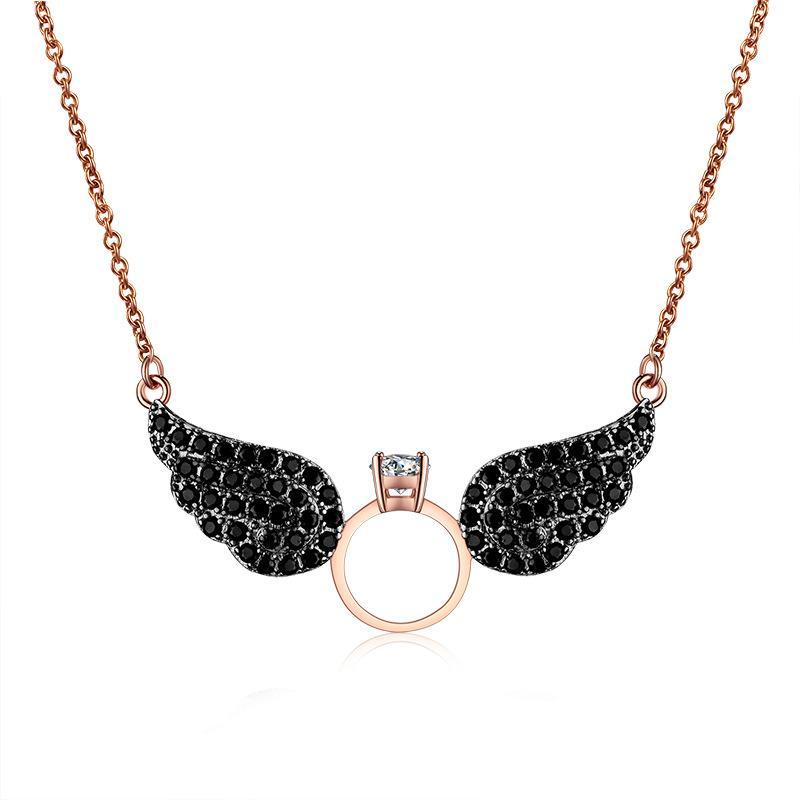 Le nouveau style est plein de collier ailes d'ange, personnalité à la mode zircon 18K or véritable collier non-fading