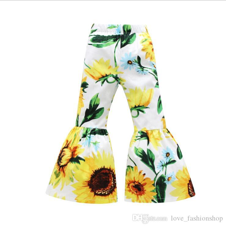 Retail Baby Girls Floral Printed flare Pants Sweet Cotton Sport sweatpants trousers Kids Designer sweat pant Children boutique Clothing