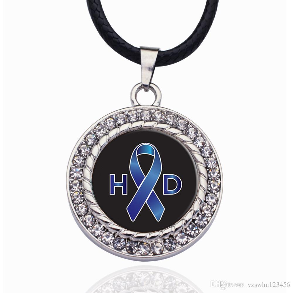 Soporte del círculo de la enfermedad de Huntington Collar con colgantes de cristal estrellas de la cadena Collares pendientes gargantillas joyería de moda