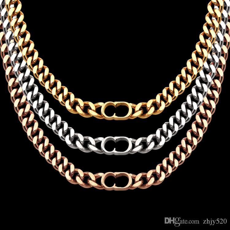 Top-Qualität Luxus-Designer Thick Halsketten Schmuck Titan Stahl 18K Gold überzog 3 Farben D Halskette Anhänger für Männer Geschenk