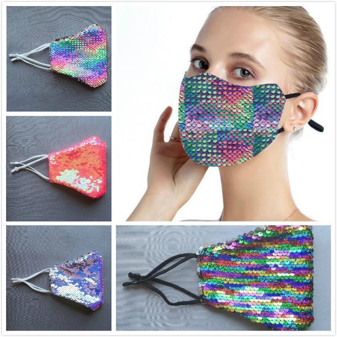 Moda Gökkuşağı Bling Bling Pullarda Koruyucu PM2.5 toz geçirmez Ağız Maskesi Yıkanabilir Yeniden kullanılabilir Kadınlar Partisi maske Maske