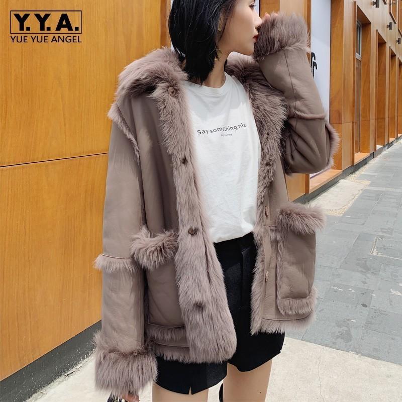 Frauenpelz Faux Luxus Frauen Winter 100% Natürliche Shearling Mode Mode Umkehrbare Lamm Echte Jacke Warme Schaffell Echtes Leder CO