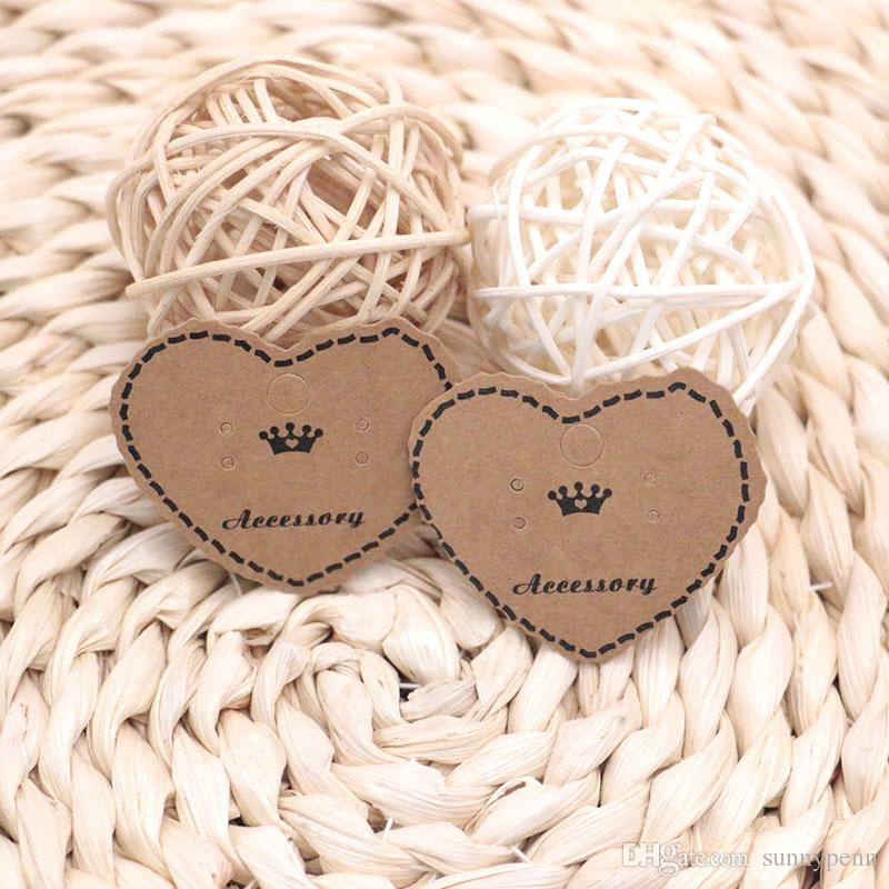 500pcs Kraft Paper Ear Studs Hang Tag Jewelry Display Card 5*4cm Earring Kraft Paper Tag Ear Ring Paper Hang Price Tags