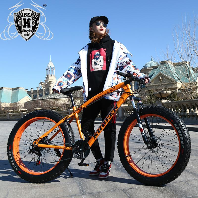"Bicicletas Kubeen Llegada 7/21/24/27 Velocidades de los frenos de disco Bicicleta de grasa 26 pulgadas 26x4.0 ""Neumático nieve bicicleta aceite de resorte horquilla"