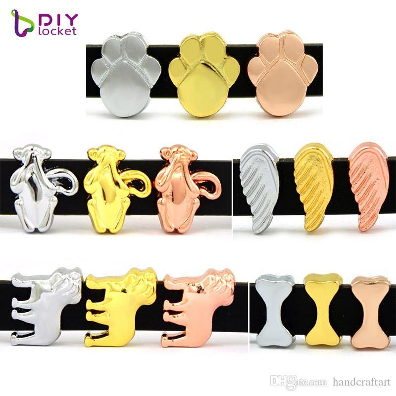 10PCS! 8MM Diaporama charme DIY accessoire Fit 8 mm Ceinture Bracelet / Collier pour chien (3 styles 3 couleurs peuvent choisir) LSSC314-357