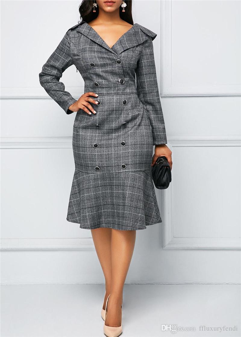 Frühling Herbst Druck Arbeit Kleider Mode V-Ausschnitt Langarm Kleider Designer Frauen Büro Dame Kleidung