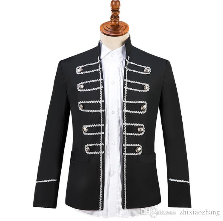 Black Stand collar sequins Blazer men suit set with pants mens suits costume singer star style stage clothing formal dress