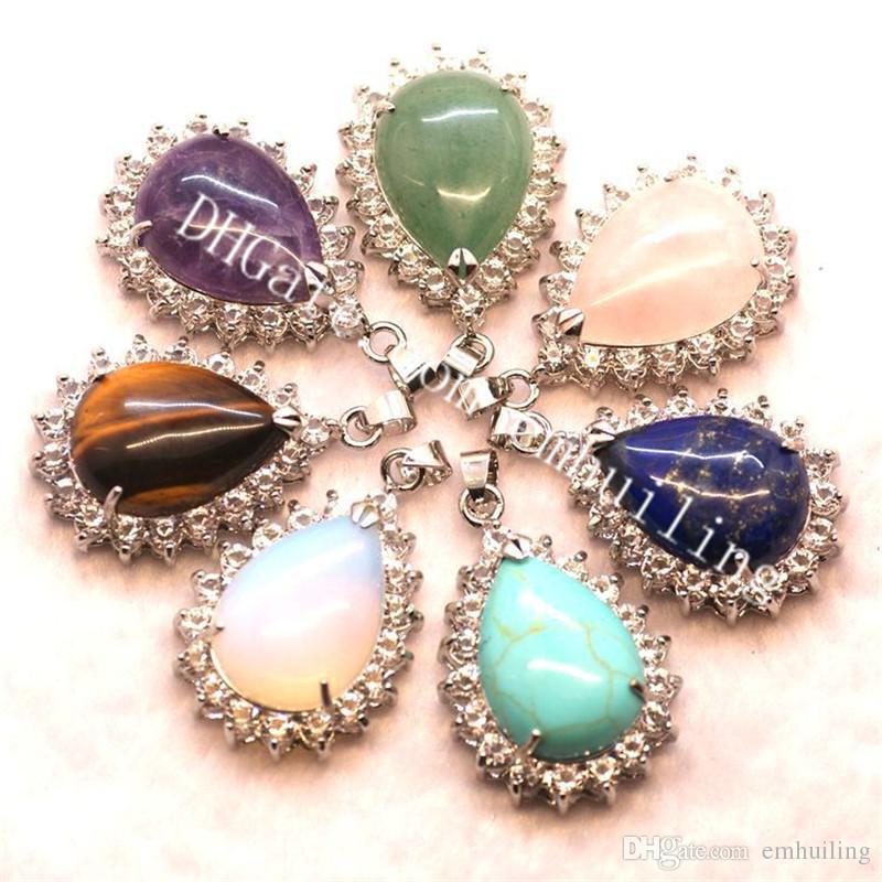 10Pcs Natural Quartz Crystal Drop Station Pendant CZ Bezel Amethyst Rose Quartz Lapis Lazuli Green Aventurine Pear Stone Charm Bead Teardrop