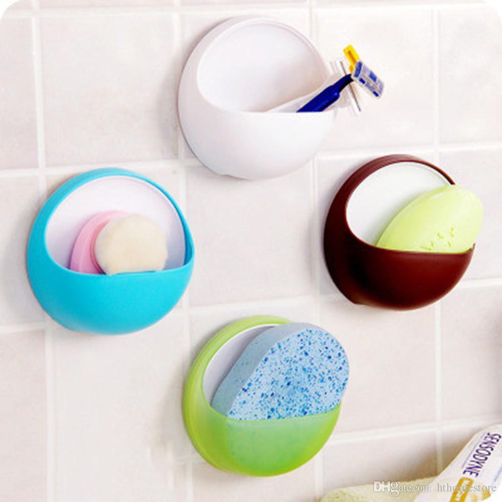 Soap Cup hthome plástico escovas de sucção Box Titular Dish Kitchen Shelf esponja cremalheira Banho sabão Acessório cesta de banho titular