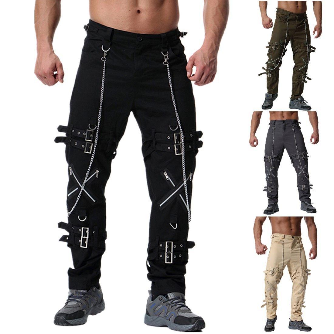 Новые дизайнерские мужские Брюки мужские Брюки Молодёжная Персонализированные Zipper Украшение Большой размер повседневные брюки 4 цвета свободный корабль