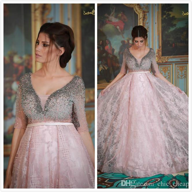 Cristaux De Perle 2019 Robes De Soirée Arabe Profonde V-cou A-ligne Dentelle Robes De Bal Rose Sexy Formelle Robe De Demoiselle D'honneur Pageant Robes