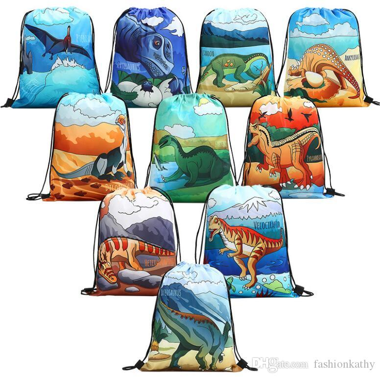 New Fashion Cute Dinosaur Pattern Polyester Storage Bag Bundle Pocket With String Unisex Gift Decor Free Shipping