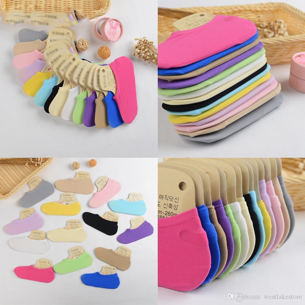 Las mujeres calcetines básicos de barco de silicona antideslizante calcetines invisibles mujer primavera verano tobillo cómodo calcetín bajo