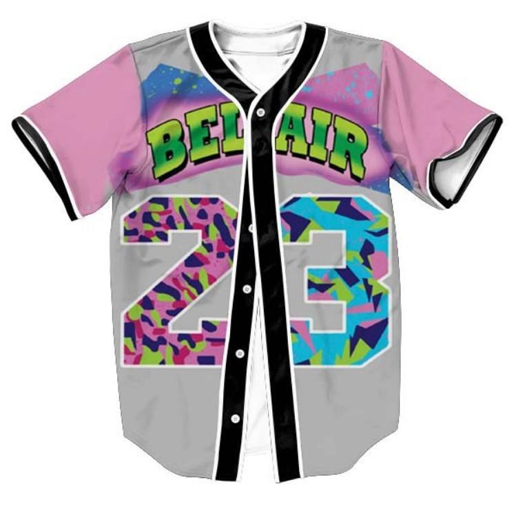 رجل واحدة اعتلى 3D قميص الشارع الشهير الهيب هوب الصيف قميص تي بيل اير 23 الأمير الطازجة البرد زهرة Overshirt البيسبول جيرسي
