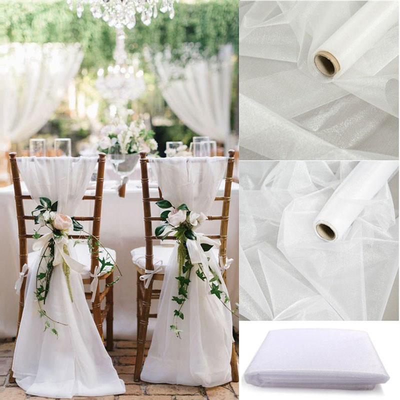 vent & Party & Holiday DIY Decorations 5/10M Sheer Crystal Wedding Tulle Roll Organza Fabric For Ceremony Party Rustic Wedding D...