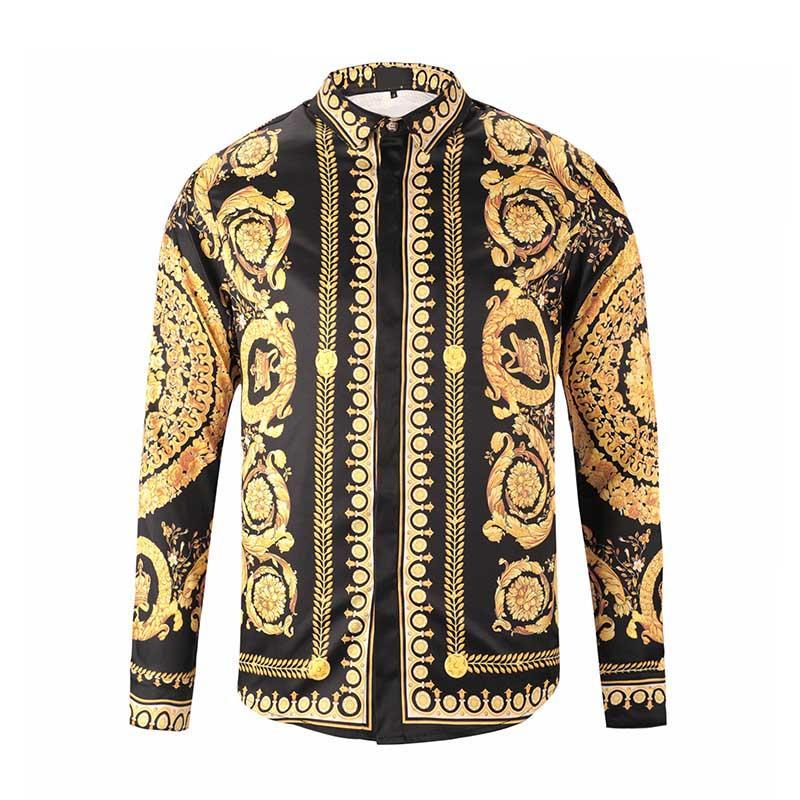 Золотой цвет воротник черный белый Мужские рубашки для бизнеса с длинным рукавом Slim Fit 2019 мода осень Осень мужская дизайнерская одежда