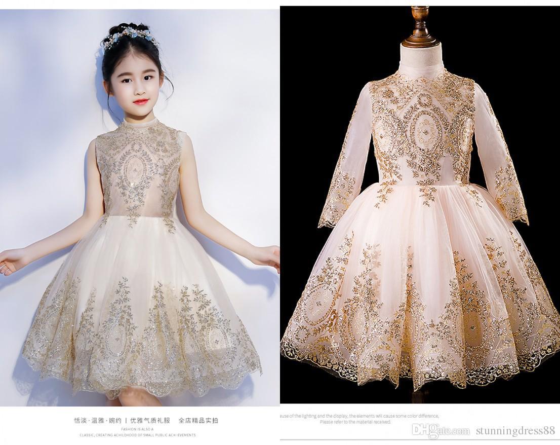 Bling 2020 Gold Lace Applique Short Flower Girls Dresses For Wedding Party Toddler Little Girls Long Sleeves Sequins First Communion Dress