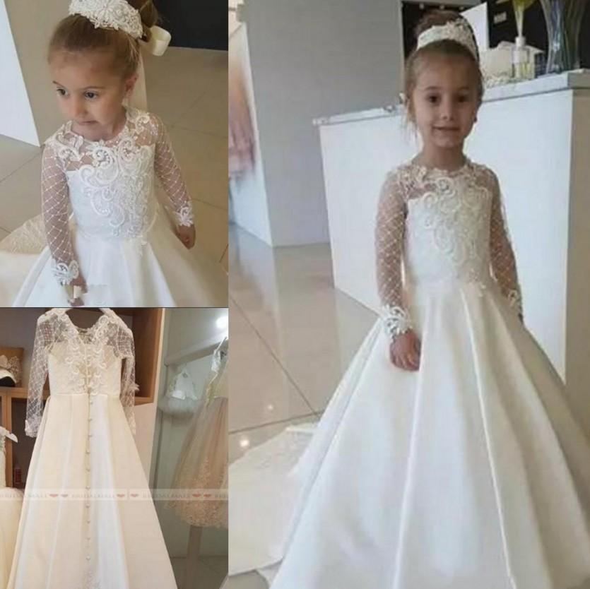 Cute 2020 Satin Lace Applique Flower Girl Dress For Wedding Party Long Sleeves Little Kids Girls First Communion Gowns Christmas Pageant