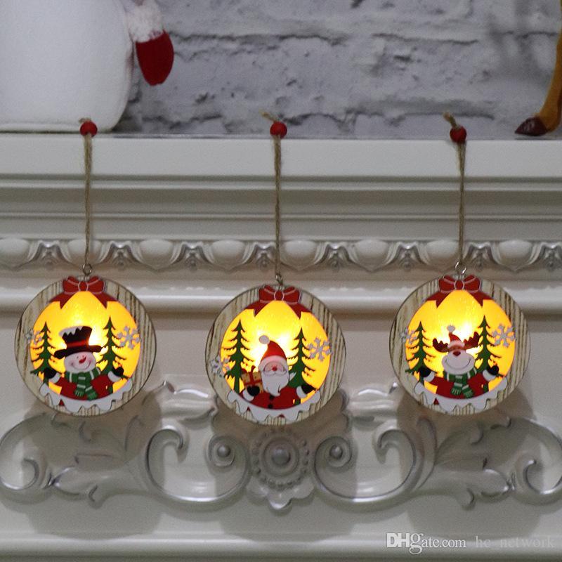 جديد خشبي المعلقات مضيئة نجمة خشبية جولة الإطار مصباح مضيئة شجرة عيد الميلاد زخرفة شنقا قلادة الحلي حزب الديكور