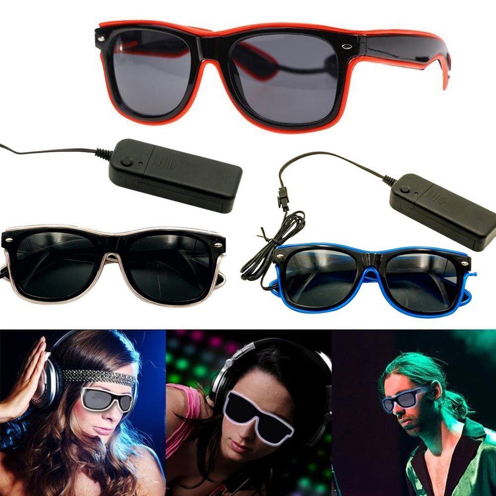 BRELONG Luminous LED 안경 소설 빛나는 안경 조정 가능한 EL 라인 네온 안경 할로윈 크리스마스 휴일 장식에 적합