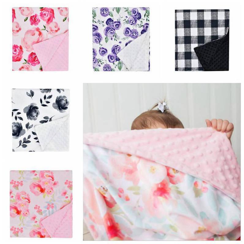 Bébé Minky Couvertures Floral Plaid poussette Couverture du nouveau-né Super Soft double couche Dotted emmailloter photo Wraps Quilt douche cadeau DYP6904