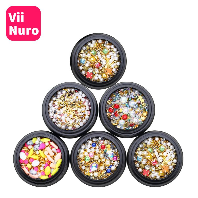 ViiNuro 1Pc Cristal ongles strass pour ongles conception 3D Nail Art Décorations Manucure Glitter strass acrylique