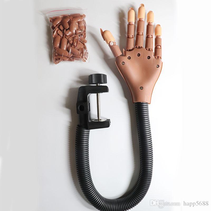 Profesyonel 1 Uygulama El + 100pcs Nail İpuçları Nail Art Eller Aracı eğitimi için Ayarlanabilir Sanat Modeli Eller DIY Manikür Aracı