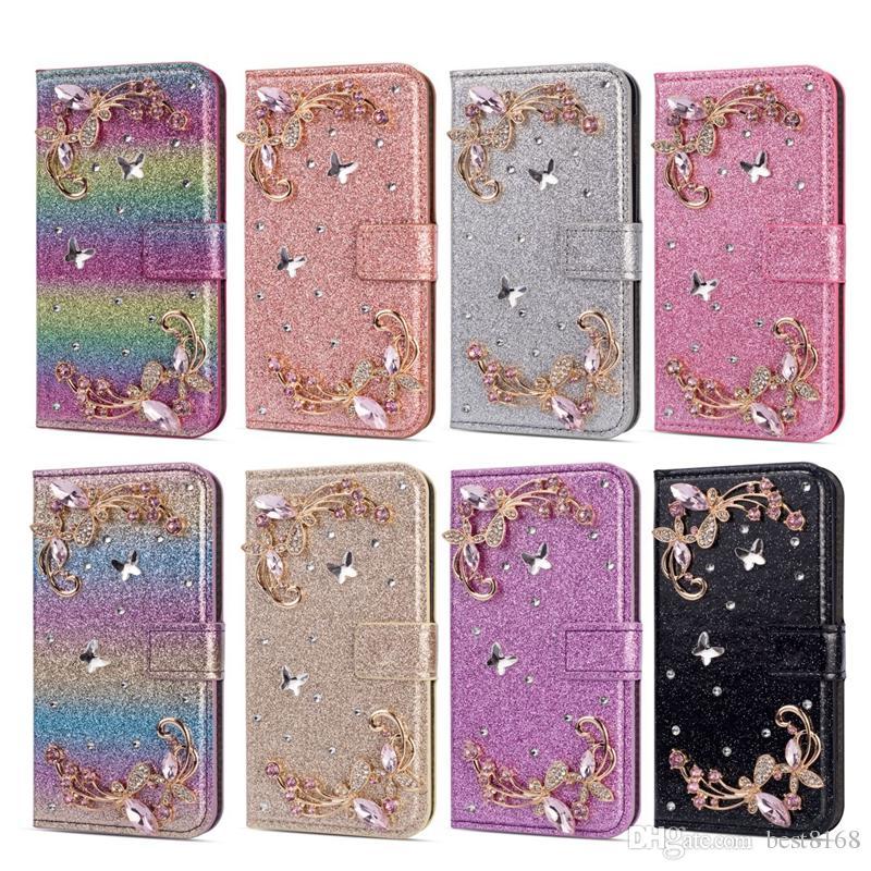 Bling Schmetterlings-Blumen-Mappen-Leder für Iphone XS MAX XR X 8 7 6 5 Galaxy S10 S10e S9 Fall Luxus-Funkeln-Diamanten-Schein-Schlag-Abdeckungs-Beutel