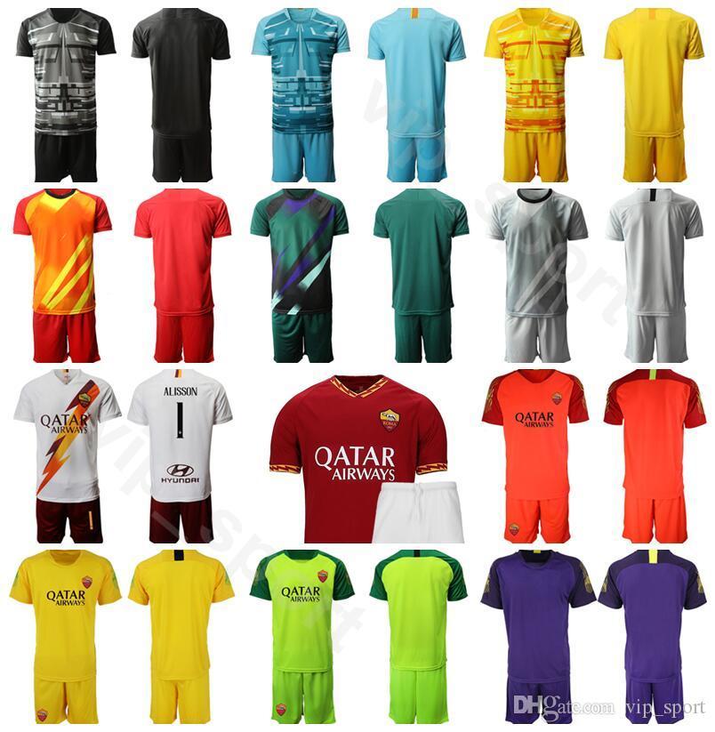 AS Roma Goalkeeper GK Goalie Soccer 1 Pau Lopez Jersey Set Men 1 Robin Olsen Football Shirt Kits Uniform Custom Name Number