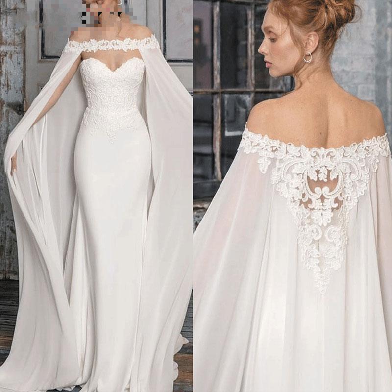 Caftan Dubai Wedding Dresses Mermaid Boho Chiffon Lace Country Wedding Gowns With Cape Sweetheart Beach Bohemian 2020 Bride Dress