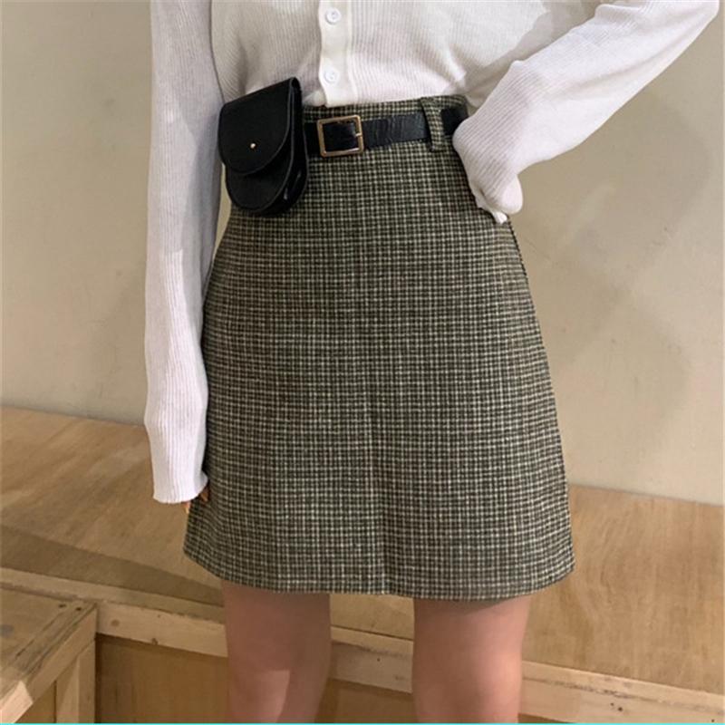 Casual Ladies Mini Saias A linha de bolso da manta Moda Feminina Primavera Saias 2020 Nova Mulheres cintura alta Acima Sashes joelho