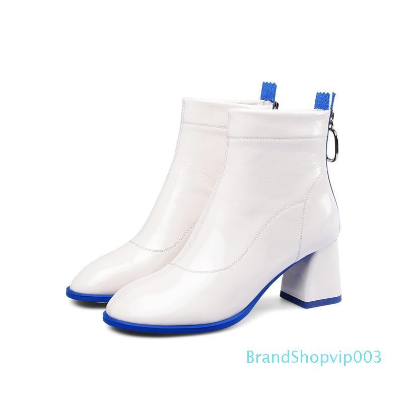 dışarıda Sıcak Satış-kış yeni moda yarım bot yüksek topuklu yuvarlak burun hakiki deri fermuar çalışma bayan ayakkabı boyutu 33-41 nakliye damla