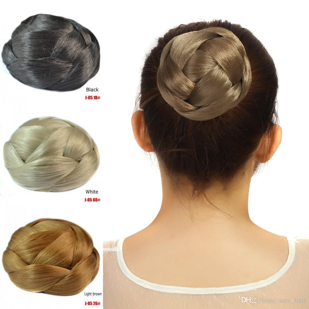 Sara Woman Chignon Hair Bun Clip Synthetic Hair Pieces 10*6CM 61g Hairpiece Black Brown Donut Braided Chignon Buns Top Quality Non-remy Hair