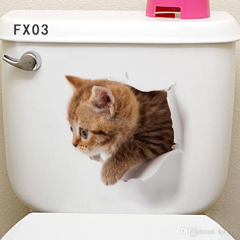 Оптовая продажа вид на отверстие яркие кошки собака 3D наклейки на стены ванная комната туалет гостиная кухня украшения животных виниловые наклейки арт плакат