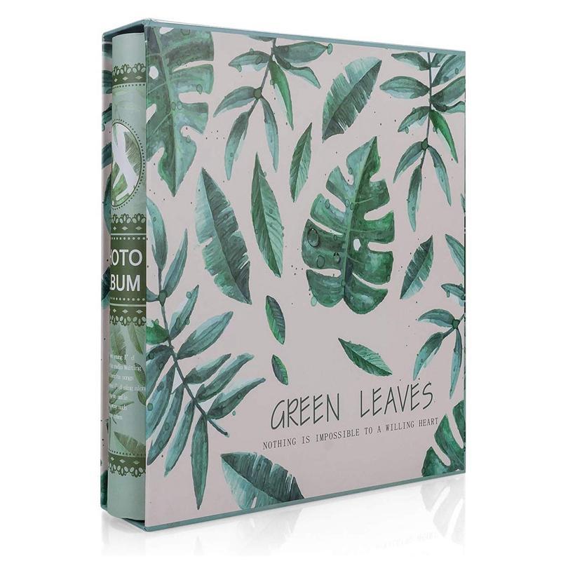 Art Album Photo Slip dans l'affaire avec 200 poches 6 x 4 pouces - Amis Souvenirs de famille Image Photograph Albums Livre - Green Leaves