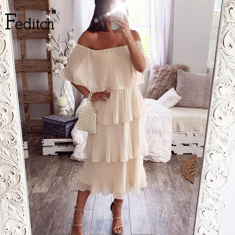 Evening Partido Feditch New elegante vestido Midi Mulheres manga curta Ruffled Longo Bolo Vestidos Feminino Vintage Vestido Vestidos