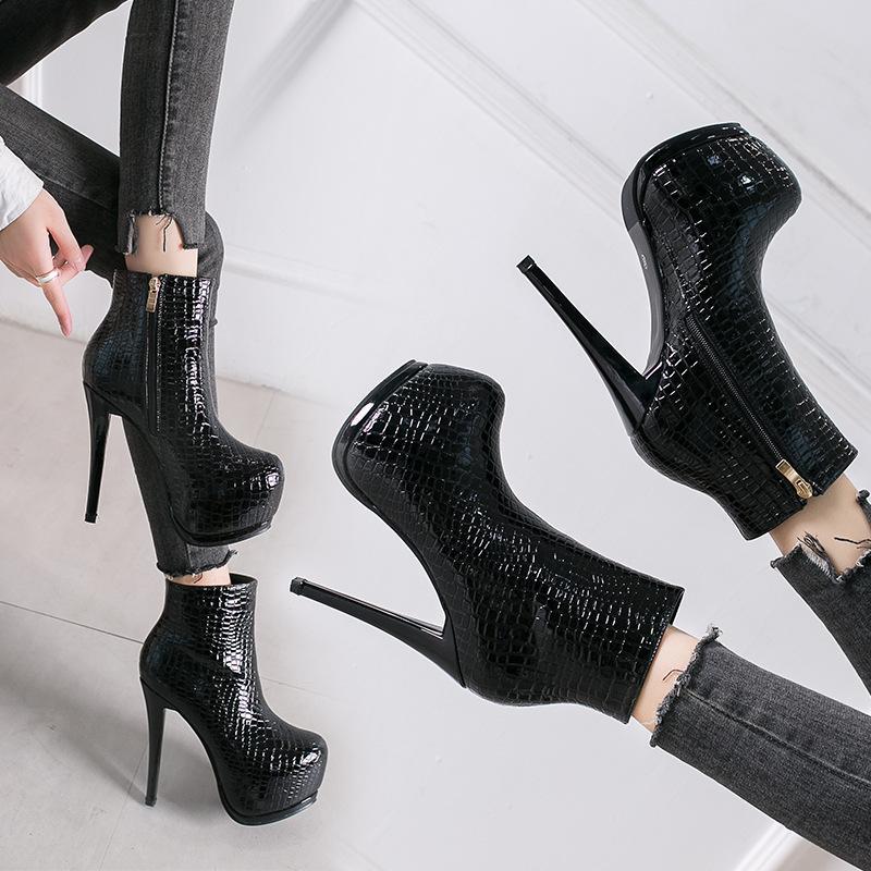 الخنجر ل 14cm الكعب العالي والأحذية النسائية للماء منصة ثعبان نمط الأسود الكاحل مثير مارتن الأحذية حجم 35-39