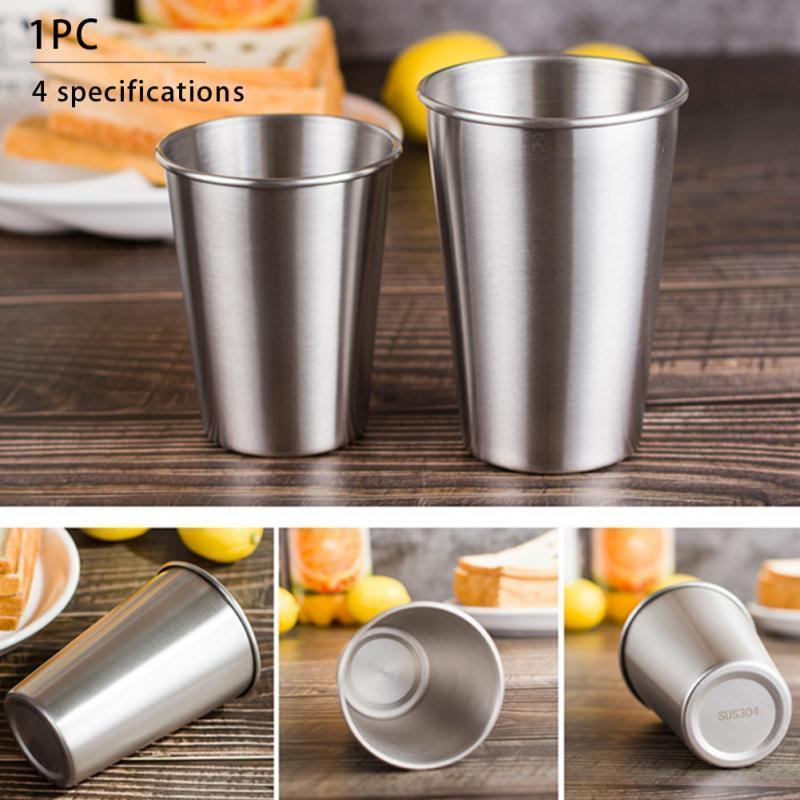 Whloesale 8.5oz 10oz 17oz 304 Stainless Steel Tumbler Single Wall Layer Wine Beer Water Egg Cup Coffee Mug Collapsible Glass Free Shipping