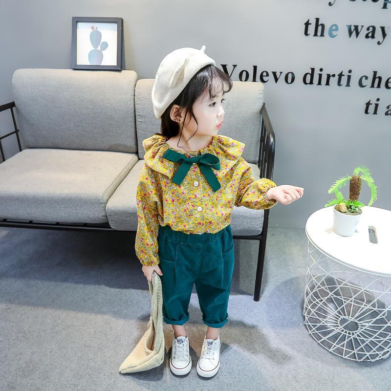 Çocuk Giyim 2020 İlkbahar Çocuk Bebek Kız Giyim Seti Çiçek Uzun Kollu O-Boyun + pantolon 2adet Infant Kıyafetler Tops