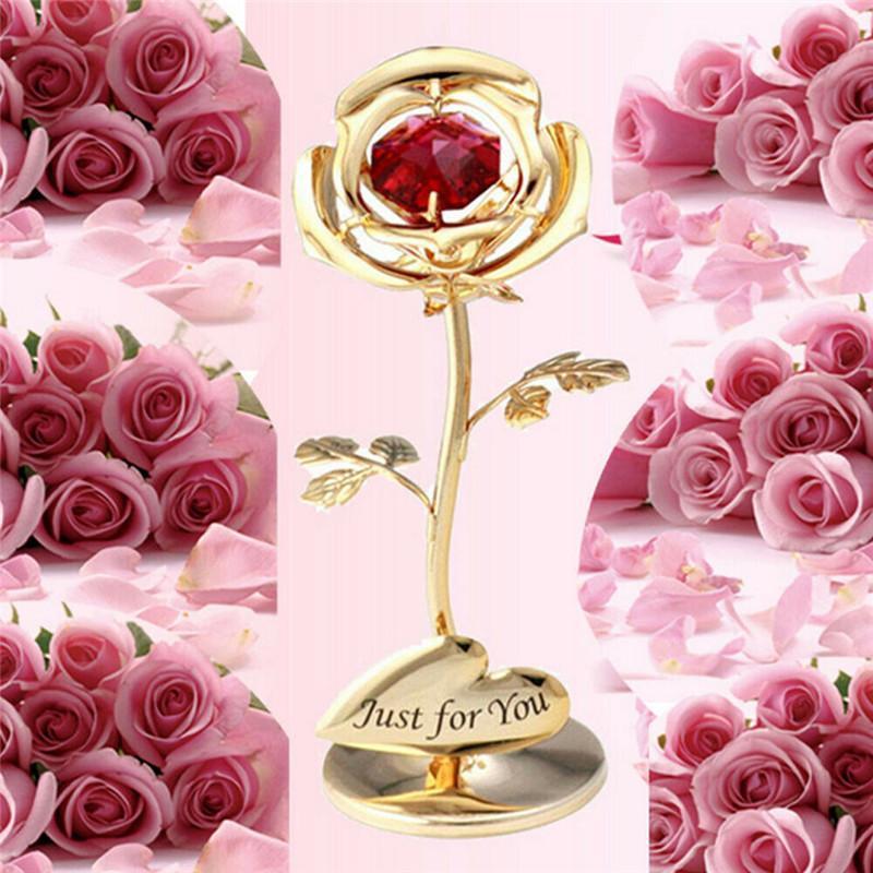 Besondere Geschenke Geschenke Foreve Rosen-Blumen mit Kristall Muttertag Gold überzogener Rosen-Geschenk Valentine Feiertag vorhanden Ornament