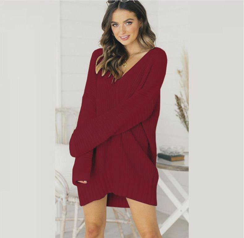 2019 специально для приграничного свитер свободного v-образного вырез свитер платья и длинные участки 0387