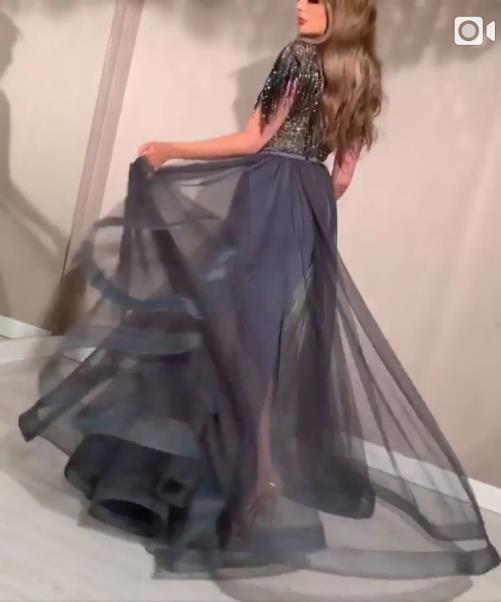 Evening dress Yousef aljasmi Labourjoisie Zuhair murad A-Line Short Sleeve Black High Collar Tulle Beading Sequin Long Dress James_paul8