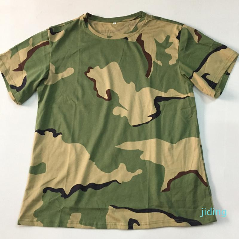 manga corta camiseta de los hombres de la moda de camuflaje de algodón para los deportes al aire libre