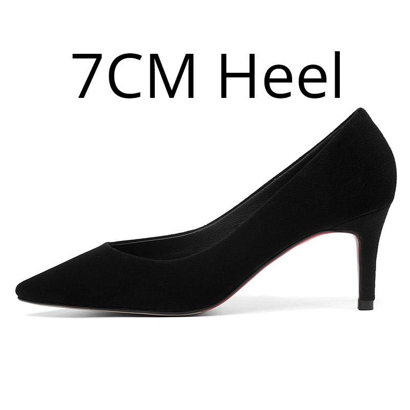 77dd1c1fd6 Women Suede Black Pumps Stiletto Kitten Heels Pointed Toe Genuine Leather  Commuter Office Classic Dress Formal Shoes Plus Size Mens Shoes Loafers  From ...
