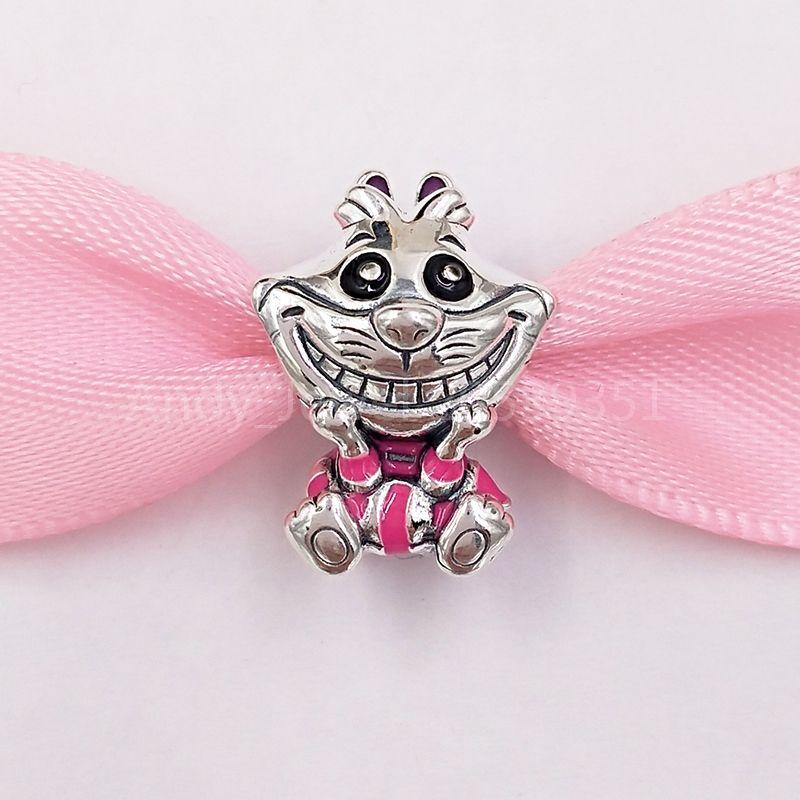 Autentiche 925 perline in argento sterling DSN Alice in Wonderland Cheshie Cat Charms Charms Adatto a Braccialetti europei di gioielli in stile Pandora